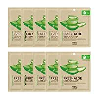 Highly-Concentrated Fresh Aloe Collagen Essence Full Face Facial Mask Sheet, Korean Beauty Cosmetics, 10 Pack