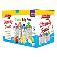 First Choice Organic Baby Food Pouches Variety Pack, (Pack of 16) Stage 2 &UP 4.0 Ounce Fruit and Veggie Pouches