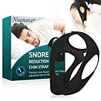 Anti Snoring Chin Strap, Snore Chin Strap, Stop Snoring, Snoring Solution, Adjustable & Breathable Anti Snoring Devices for Men Women, Black