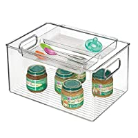 mDesign Baby Food Storage Organizer Bin for Pouches, Formula, Jars, Spoons - Set of 2, 8