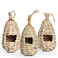 AQUEENLY Hummingbird House Set of 3 Hand Woven Hummingbird Houses Nest Small Hanging Audubon Birdhouse