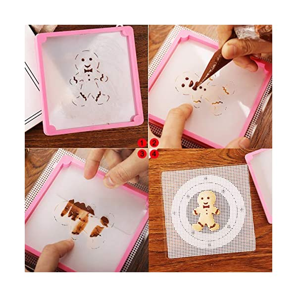 1 Heart Cookie Stencil + Cookie Decorating Stencil Frame 2 Different Thicknesses Magnetic Stencil Holder Cookies Molds Fixing Frame Decor Novice Baking Tools