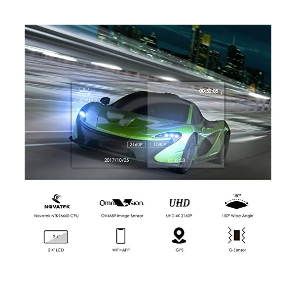 Loop Recording for Cars Time Lapse WDR G-Sensor Trucks LC63H Lifechaser Dash Cam Car Camera 4K UHD WIFI GPS Night Vision 150/° with 2.4 LCD Parking Mode