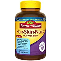 Nature Made Hair, Skin & Nails with 2500 mcg of Biotin Softgels, 120 Count Value Size for Supporting Healthy Hair, Skin and Nails