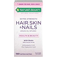 Nature's Bounty Optimal Solutions Hair Skin & Nails Extra Strength, 150 Count (Pack of 1), Multivitamin Supplement, with Antioxidants C & E