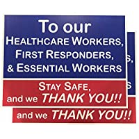 Pack of 2 / Health Care, First Responders, Essential Workers, Thank You Yard Signs. Printed 2 Sided - 18 x 24, Wire H Stake Included