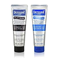 Advanced Day & Over Night Face Cream Dermasil Platinum Scent Dermatologist Recommended Anti-Aging Treatment, Nourishing & Moisturizing 2-in-1 Relief, Protection & Repair Cream for Dry Skin (Pack of 2)
