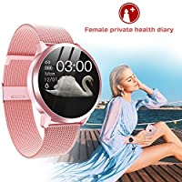 iQuark Smart Watch for Women with Physiological Cycle Reminder, All-Day Heart Rate Blood Pressure Monitor, IP68 Waterproof Smartwatch for Women, Fitness Tracker Calorie Pedometer Stopwatch (Pink)