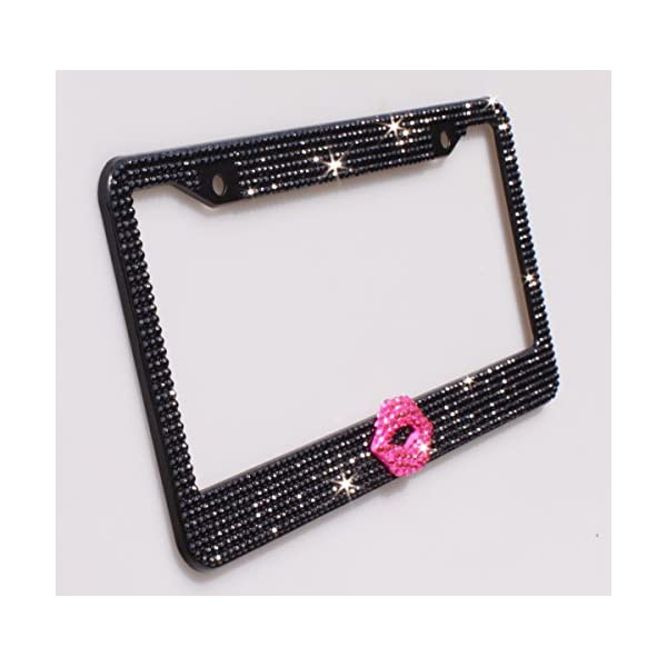 Anti-Theft Screw Cap Big Crystal pcs Finest 14 Facets SS20 Black Rhinestone Crystal 1000 Luxury Handcrafted Bling Black Rhinestone Premium Stainless Steel License Plate Frame with Gift Box