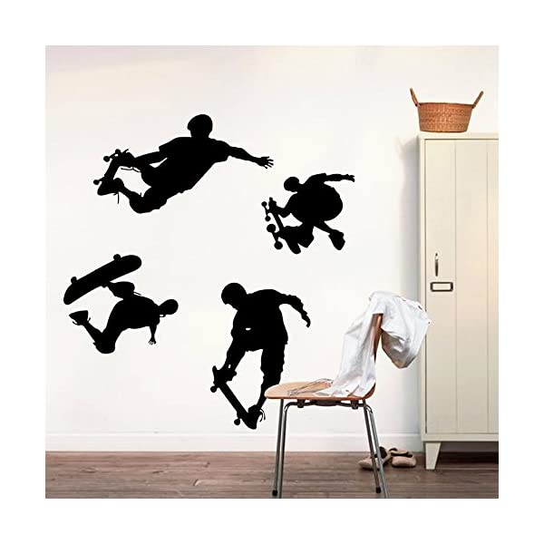 YIHOPAINTI Single Skateboard Sports Wall Decals Stickers for Kids Room Living Room Office Kitchen Bedroom Home Decor