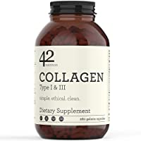 42Nutrition Collagen Pills Type I and III Supplements - 260 Gelatin Capsules with...