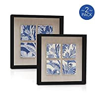 8x8 Inch Black Shadow Box Picture Frames - Deep Photo Frame for Wall or Standing Glass Display Case - Create Collage of Art with Baby Memorabilia, Pins, Awards, Medals, Tickets, Pictures - Set of 2