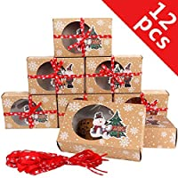 OurWarm 12 Packs Christmas Cookie Boxes with Window, Food Grade Kraft Bakery Boxes with Oilpaper and Ribbons, Cupcake Boxes for Holiday Gift Giving, Christmas Party Favors, Fits 12 Cookies or Cakes