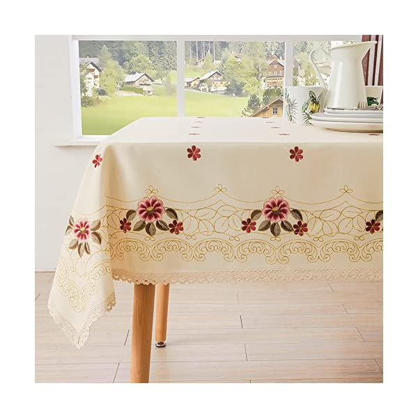 NIP Elrene Green Floral Butterfly Vinyl Easy Wipe Party Kitchen Tablecloth