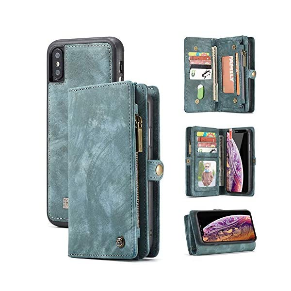 Black-Grey iPhone 11 Wallet Case,Zttopo 2 in 1 Leather Zipper Detachable Magnetic 11 Card Slots Card Slots Money Pocket Clutch Cover with Free Screen Protector for 6.1 Inch iPhone Case