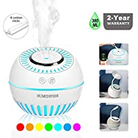 DCMEKA Cool Mist Baby Humidifier, [Newest Updated Version] 2-in-1 Humidifier & Diffuser Ultrasonic USB Desk Humidifier for Home Bedroom Baby Nursery and Office, 4 Cotton Sticks Included (380ml 50ml/h)