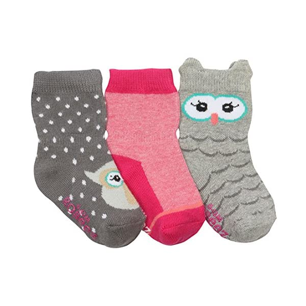 Cotton and Spandex Blend With Non Skid Application Robeez baby-girls Baby 3pk Crew Socks