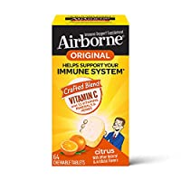 Vitamin C 1000mg - Airborne Citrus Chewable Tablets 64 Count - Immune Support Supplement