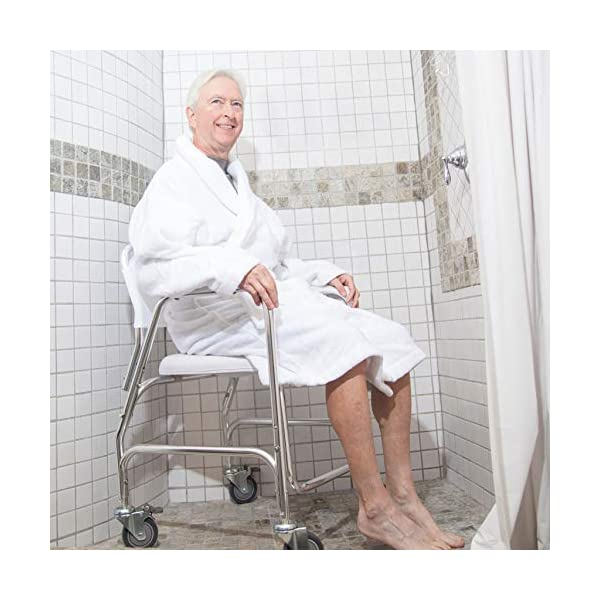 Elderly 250 lb Weight Capacity DMI Rolling Shower and Commode Transport Chair with Wheels and Padded Seat for Handicap Injured and Disabled