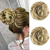 MORICA Messy Hair Bun Extensions 2PCS Curly Wavy Messy Synthetic Chignon Hairpiece Scrunchie Scrunchy Updo Hairpiece for women(Color:86H10#)