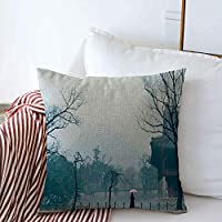 Decorative Pillow Cases Landscape Winter House Color View Season Snow Korea Travel Landmarks Holidays White Outdoor Beauty Square Cushion Pillows Covers Car Couch Summer Decor 16x16 Inch