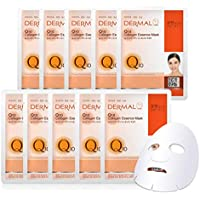 DERMAL Q10 Collagen Essence Facial Mask Sheet 23g Pack of 10 - Coenzyme Q10, Anti Wrinkle and Anti Aging, Skin Elasticity, Daily Skin Treatment Solution Sheet Mask