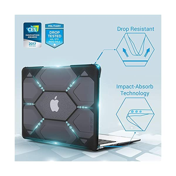 iBenzer Hexpact Dual Layer Design Full-Body Rugged Protective Case for MacBook Air 11 A1370//A1465 Black LC-HPE-A11BK