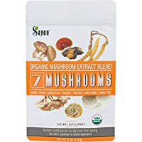 Sayan 7 Mushrooms USDA Organic Extract Powder Blend Supplement 4 oz / 113g - Chaga, Reishi, Cordyceps, Maitake, Shiitake, Lion's Mane and Turkey Tail, No Fillers, Add to Coffee or Tea, Fruiting Body