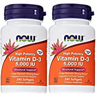 Now Foods Vitamin D3 5,000 IU, 240 softgels (Pack of 2)