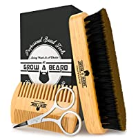 Beard Brush & Comb Set for Men's Care   Giveaway Mustache Scissors   Gift Box & Travel Bag   Best Bamboo Grooming Kit to Distribute Balm or Oil for Growth & Styling   Adds Shine & Softness