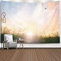 Bisead Colorful Tapestry for Women World Environment Day Concept Calm Country Meadow Landscape Background 80X60 Inches Art Tapestry for Bedroom