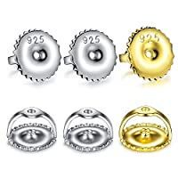Sterling Silver Hypoallergenic Secure Earring Backs for Studs Replacement Post Sizes .032,6pcs//3 Pairs SIWOMS Earring Backs 18K Gold Plated Threaded Screw Earring Backs Safe Locking Earring Backs