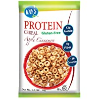 Kay's Naturals Protein Breakfast Cereal, Apple Cinnamon, Gluten-Free, Low Fat, Diabetes Friendly, All Natural Flavorings, 1.2 Ounce (Pack of 6)