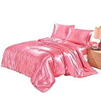 Lucky lover Hotel Quality Pink Duvet Cover Set Twin/Single Size Silk Like Satin Bedding with Hidden Zipper Ties Soft Comfortable Hypoallergenic Stain Resistant Solid Quilt/Comforter Cover Set