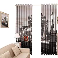 oobon Blackout Curtains 96 Inches Long, Adjustable Tie Up Shade Rod Pocket Curtain, Sore Today Strong Tomorrow Gym Quote Typography Colorful Energetic Brushstrokes, Multicolor, 108x96 inch