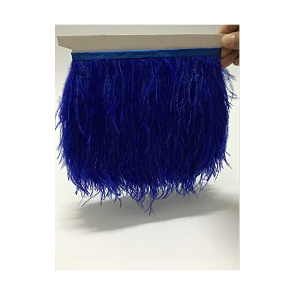 Sky Blue MELADY 10 Yards Fashion Dress Sewing Crafts Costumes Decoration Ostrich Feathers Trims Fringe with Satin Ribbon Tape