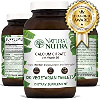 Natural Nutra Calcium Citrate with Vitamin D3, Supplement for Bone Strength, Health and Osteoporosis, 120 Tablets
