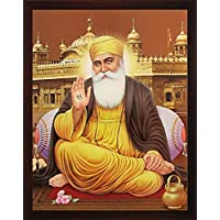 Gurunank Dev Ji giving blessings with ekumkar on Right Hand and sitting outside golden temple, A paper poster with frame for Home/gift