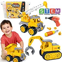 Kididdo Take Apart Truck for Boys and Girls,Set of 3 Construction Vehicles for Kids, Build a Dump Truck, Excavator and Crane, Take a Part Truck Toy with Drill and Tools for Toddlers 2-5 Years Old