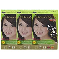 Natural Mi Ya Hair Color, Herbal Hair Dye & Hair Nutritions by Extracted Ginseng,Henna Hair Color Colorants, Permanent (3 Pack, Dark Brown)
