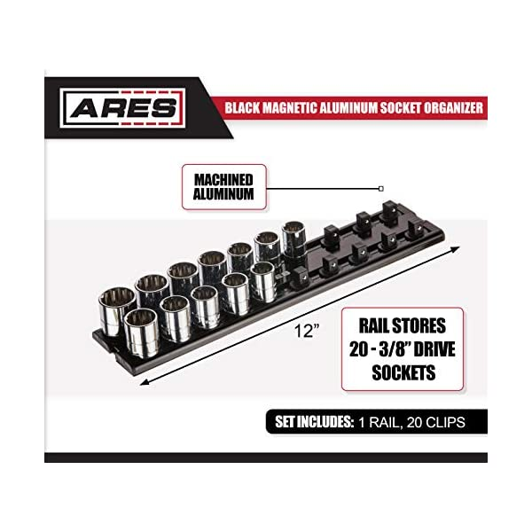 ARES 70178-1//4-Inch Drive Magnetic Socket Organizer Aluminum Rack Stores up to 20 Sockets and Keeps Your Tool Box Organized