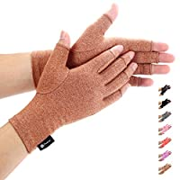 Duerer Arthritis Gloves Women Men-Compression Gloves for Pain Relief-RSI, Carpal Tunnel, Rheumatoid & Osteoarthritis Hand Gloves(Brown, S)