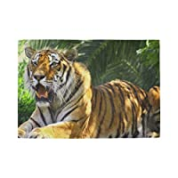 YUEND Non Slip Resistant Placemats Tropical Forest Tree Animal Tiger Large Table Mats for Dinning Table Heat Durable 1PC Kitchen Home