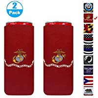 XccMe Neoprene Slim Can Sleeves USA Marine Corps Flag Insulation Sleeve Soft Slim Can Cooler Insulators Suitable for 12oz Energy Drink Red Bull White Claw and Seltzer Water (Marine Corps)