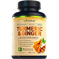Nature's Base Turmeric Curcumin with Ginger, 95% Curcuminoids, Apple Cider Vinegar, Tumeric Supplements, Occasional Joint Pain Relief, Inflammatory Response,Natural Plant Based Anti-Oxidant Properties