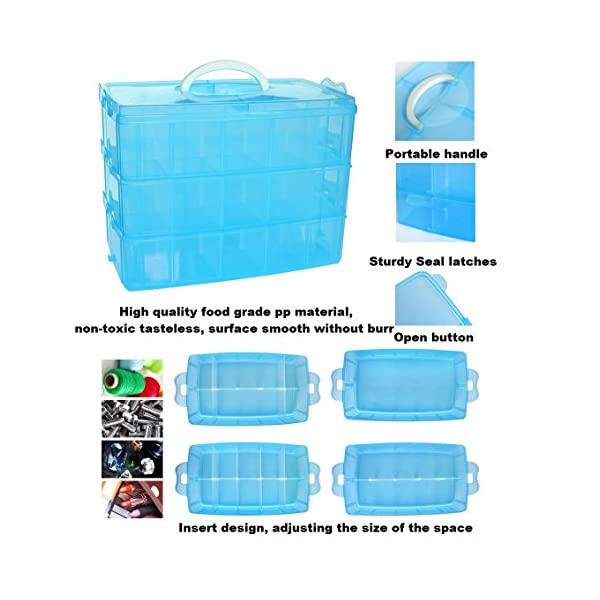 Rekukos 3-Tier Demountable Plastic Jewelry Box Organizer Storage Container with Adjustable Dividers 30(Large) Grids Blue