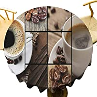 Flyerer Table Cover Coffee Themed Collage Close Up Mugs Beans on Wooden Table Aromatic Roasted Espresso Drink Brown,Suitable for Holiday, Family, Christmas Party 36 inch