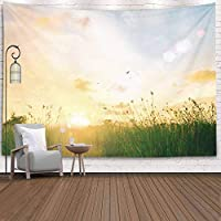 Bisead Tapestry Wall Art for Women Happy New Day Concept Stunning Yellow Meadow Autumn Bokeh Light Background 80X60 Inches Tapestry Wall Hanging for Bedroom
