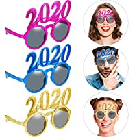 Black, 1 Pair 2020 Eyeglasses Glitter 2020 Number Glasses New Year Fun Eyewear Novelty Glasses for 2020 New Year Party Favors Grad Party Supplies