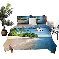 Four-piece bedding Hotel Luxury Bed Sheets Silk Sheets Ocean Tropical Palm Trees on Sunny Island Beach Scene Panoramic View Picture Blue Green and White high density weaving process W104